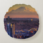 Cityscape view of Seattle downtown, football Round Pillow