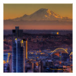 Cityscape view of Seattle downtown, football Posters