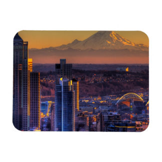 Cityscape view of Seattle downtown, football Rectangular Photo Magnet