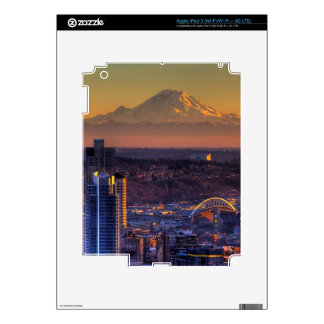 Cityscape view of Seattle downtown, football Decal For iPad 3
