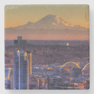 Cityscape view of Seattle downtown, football Stone Coaster