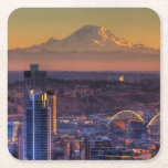 Cityscape view of Seattle downtown, football Square Paper Coaster