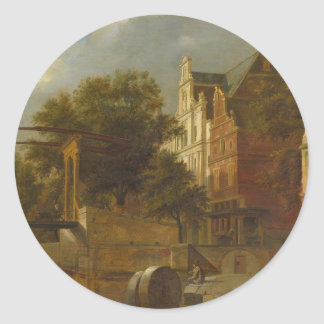 Cityscape with Drawbridge by Adriaen van de Velde Classic Round Sticker