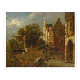 Cityscape with Drawbridge by Adriaen van de Velde Postcard