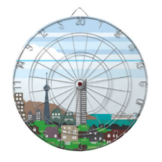Cityscape with Lakefront Sea Ocean Vector homes an Dartboards