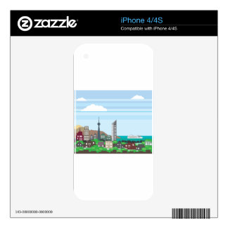 Cityscape with Lakefront Sea Ocean Vector homes an iPhone 4 Skin