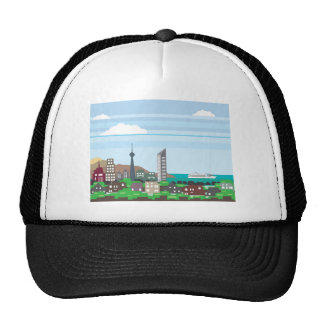 Cityscape with Lakefront Sea Ocean Vector homes an Trucker Hat