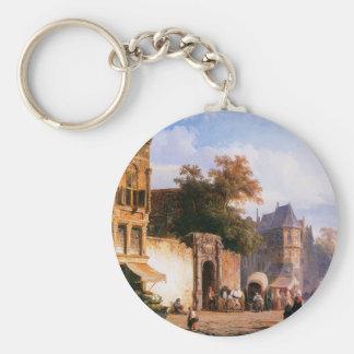 Cityview wiith marketstall by Cornelis Springer Basic Round Button Keychain