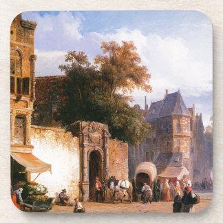 Cityview wiith marketstall by Cornelis Springer Beverage Coaster