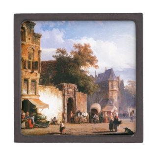 Cityview wiith marketstall by Cornelis Springer Keepsake Box