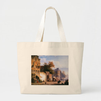 Cityview wiith marketstall by Cornelis Springer Large Tote Bag