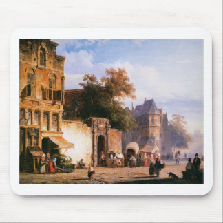 Cityview wiith marketstall by Cornelis Springer Mouse Pad