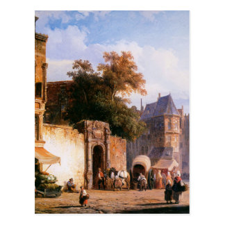 Cityview wiith marketstall by Cornelis Springer Postcard