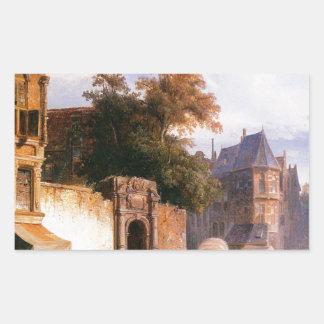 Cityview wiith marketstall by Cornelis Springer Rectangular Sticker
