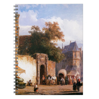 Cityview wiith marketstall by Cornelis Springer Spiral Notebook
