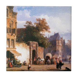 Cityview wiith marketstall by Cornelis Springer Tile