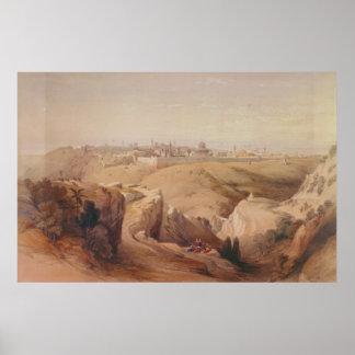 Ciudad antigua de Jerusalén del monte de los Olivo Impresiones
