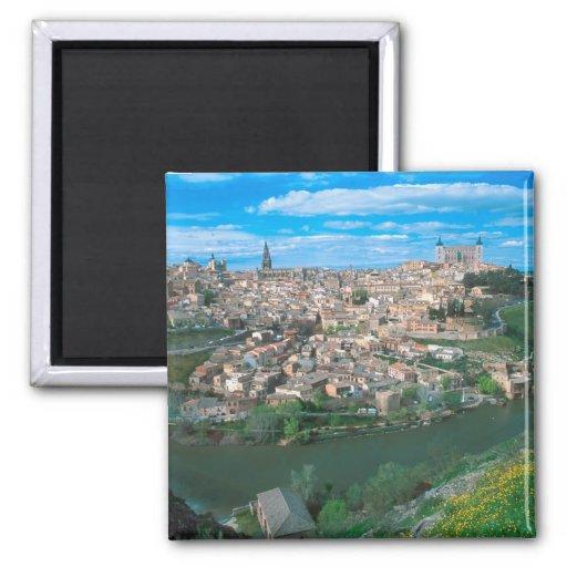 Ciudad antigua de Toledo, España Imán Cuadrado