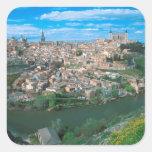 Ciudad antigua de Toledo, España Calcomanía Cuadradas Personalizadas