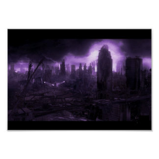 Ciudad apocalíptica del poste impresiones