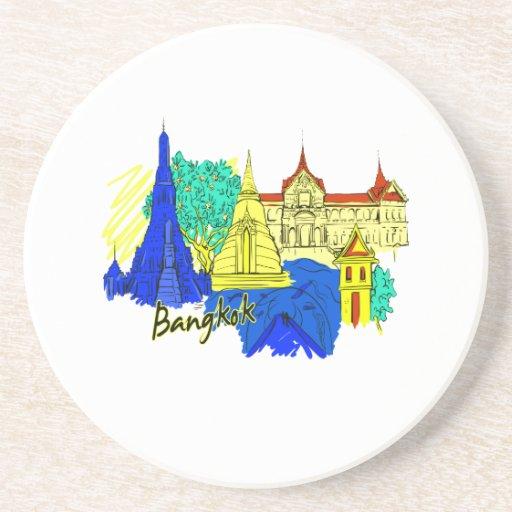 ciudad azul graphic.png del viaje de Bangkok Posavasos Manualidades