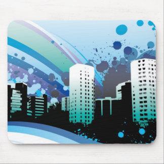 Ciudad azul vectorizada tapete de raton
