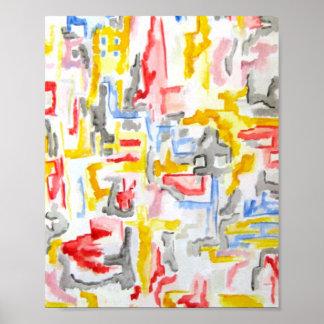 Ciudad brumosa - arte abstracto póster