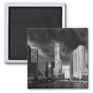Ciudad - Chicago IL - torre BW del triunfo Imán Cuadrado