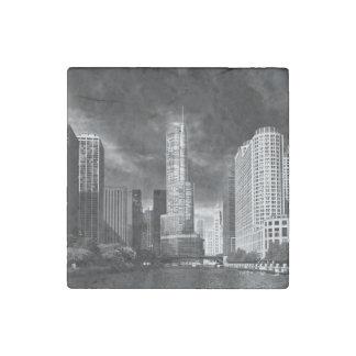 Ciudad - Chicago IL - torre BW del triunfo Imán De Piedra