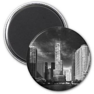 Ciudad - Chicago IL - torre BW del triunfo Imán Redondo 5 Cm