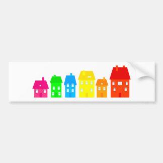 Ciudad colorida etiqueta de parachoque