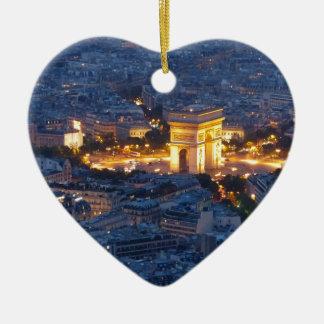 Ciudad cosmopolita de Arco del Triunfo París Adorno Navideño De Cerámica En Forma De Corazón