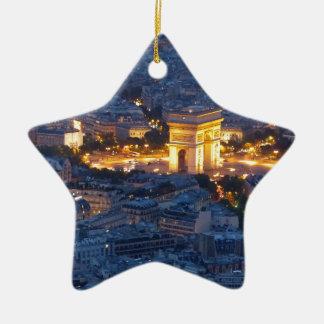 Ciudad cosmopolita de Arco del Triunfo París Adorno Navideño De Cerámica En Forma De Estrella