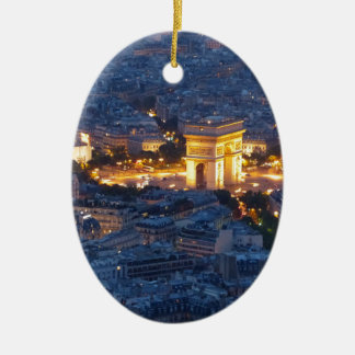 Ciudad cosmopolita de Arco del Triunfo París Adorno Navideño Ovalado De Cerámica