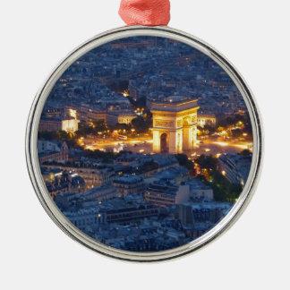 Ciudad cosmopolita de Arco del Triunfo París Adorno Navideño Redondo De Metal