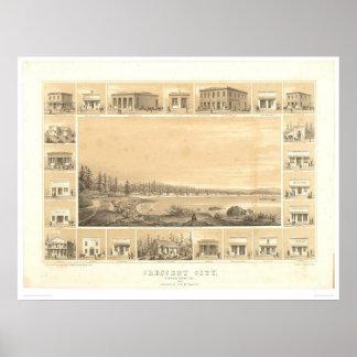 Ciudad creciente, mapa panorámico 1857 (0465A) del Póster