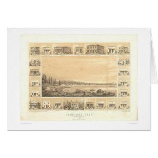 Ciudad creciente, mapa panorámico 1857 (0465A) del Tarjeta De Felicitación