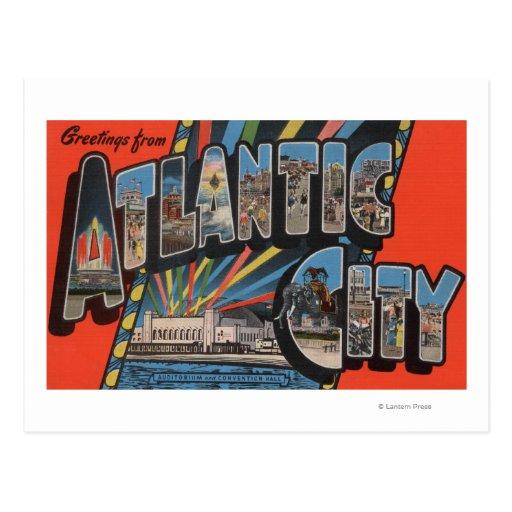 Ciudad de Altantic, New Jersey - letra grande Tarjeta Postal