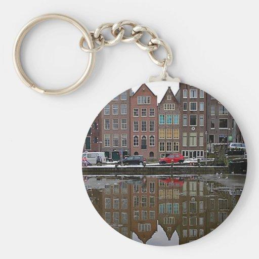 Ciudad de Amsterdam Llavero Redondo Tipo Pin