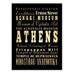 Ciudad de Atenas del arte de la tipografía de Grec Postales