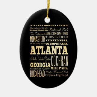 Ciudad de Atlanta del arte de la tipografía del Adorno Navideño Ovalado De Cerámica