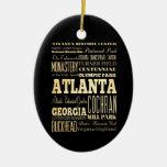 Ciudad de Atlanta del arte de la tipografía del Ornaments Para Arbol De Navidad