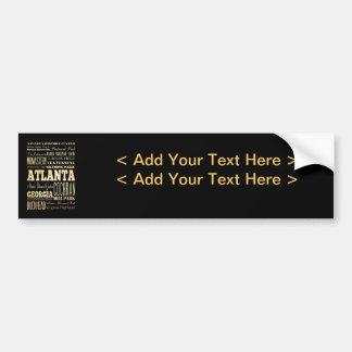 Ciudad de Atlanta del arte de la tipografía del es Pegatina De Parachoque