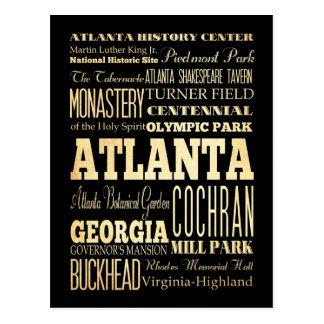 Ciudad de Atlanta del arte de la tipografía del Tarjeta Postal