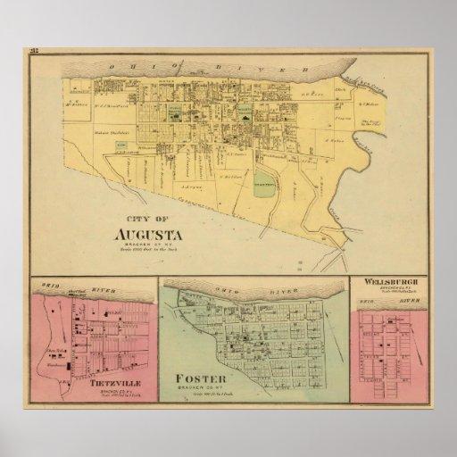 Ciudad de Augusta con Tietzville, adoptiva Posters