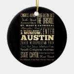 Ciudad de Austin del arte de la tipografía del Adornos De Navidad