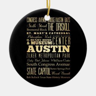 Ciudad de Austin del arte de la tipografía del Adorno Redondo De Cerámica