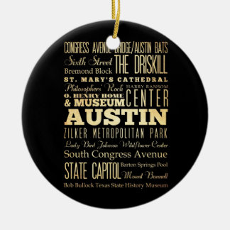 Ciudad de Austin del arte de la tipografía del est Adornos De Navidad