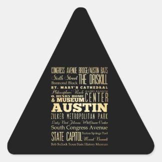 Ciudad de Austin del arte de la tipografía del Pegatinas Triangulo Personalizadas