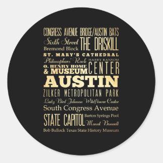 Ciudad de Austin del arte de la tipografía del Etiqueta Redonda